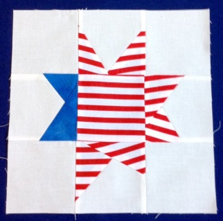 8.5 x 8.5 Patriot Wonky Star Quilt Block