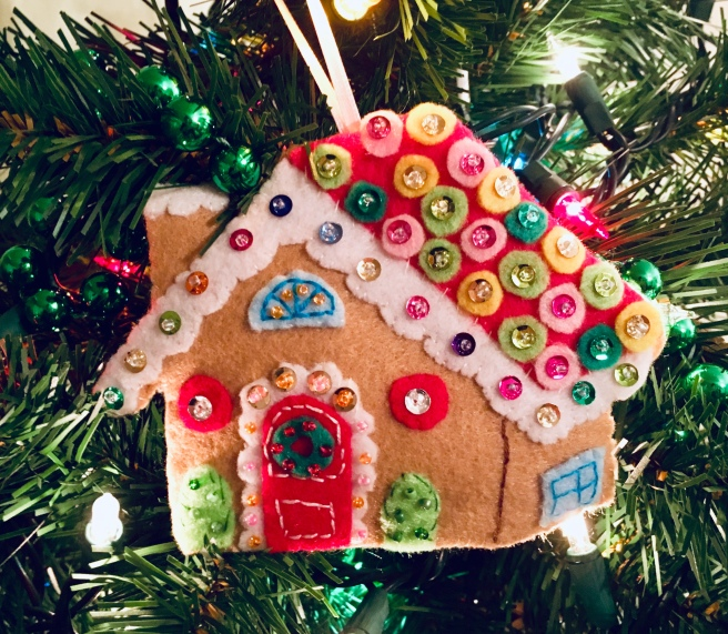 Felt beaded gingerbread house ornament