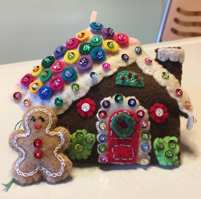 Felt gingerbread house ornament