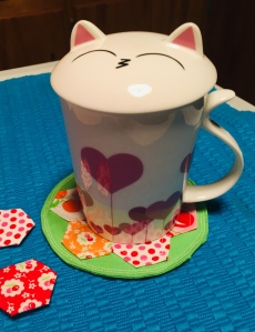 Cat mug on Hexie quilted coaster