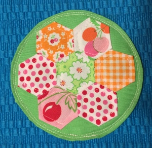 Hexie quilted coaster