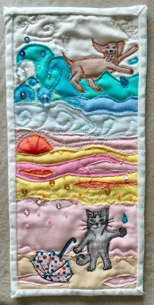 It's raining cats and dogs mini quilt